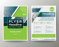 Disposición de diseño geométrica verde y azul del aviador del folleto del cartel