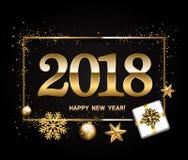Disposición de diseño de la Feliz Año Nuevo en fondo negro con 2018 Regalo ilustración del vector