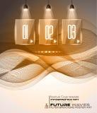 Disposición de Infographic con los proyectores sobre un fondo de alta tecnología stock de ilustración