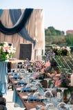 Disposición de la decoración del evento de la boda, tiempo de verano, al aire libre Imagenes de archivo