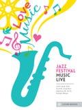 Disposición de la plantilla del fondo del diseño gráfico del festival de música de jazz Imagen de archivo