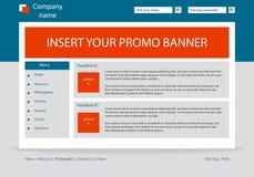 Disposición de la plantilla del negocio del sitio web con el texto Fotografía de archivo