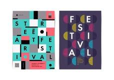 Disposición de los carteles del festival con los elementos geométricos coloridos foto de archivo