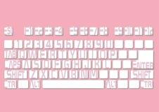 Disposición de teclado en un fondo rosado Ilustración del vector Imágenes de archivo libres de regalías