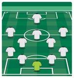 Disposición del campo de fútbol con la formación Imágenes de archivo libres de regalías