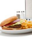 Disposición del comensal de la hamburguesa y de las patatas fritas Fotos de archivo
