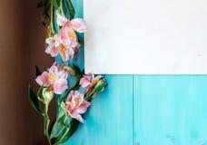 Disposición del fondo de la primavera en un fondo de madera azul con la pizarra de las flores Foto de archivo