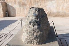 Disposición del palacio septentrional en las ruinas de la fortaleza de Masada, construida en 25 A.C. por rey Herod encima de una  foto de archivo