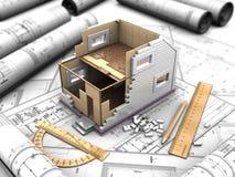 Disposición el hogar de dos pisos stock de ilustración
