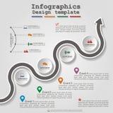 Disposición infographic del elemento de la cronología del camino Vector Imágenes de archivo libres de regalías