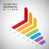 Disposición infographic del flujo de trabajo de la plantilla del diseño de la cronología isométrica, diagrama Fotografía de archivo libre de regalías