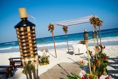 Disposición para la boda de playa Fotografía de archivo