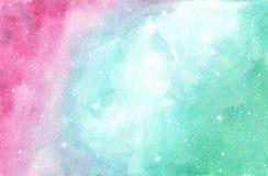 Disposición rosa clara, azul y verde con las estrellas cósmicas libre illustration