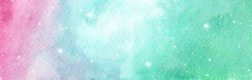 Disposición rosa clara, azul y verde con las estrellas cósmicas ilustración del vector