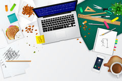 Disposición sucia de la plantilla de la maqueta del producto del espacio de la oficina y de funcionamiento Imagen de archivo libre de regalías