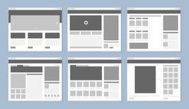 Disposici?n del sitio web Ventana de navegador de Internet de la plantilla de las p?ginas web con las banderas y dise?o del vecto ilustración del vector