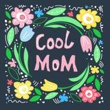 Disposici?n plana exhausta del texto del c?rculo de la mano floral del marco Mama fresca ilustración del vector