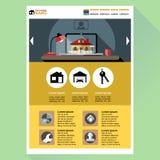 Disposición del tema del sitio web de la compañía de la construcción de viviendas Imágenes de archivo libres de regalías