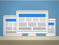 Disposiciones de diseño adaptantes plantillas de la página del sitio web stock de ilustración
