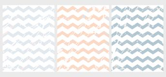 Disposiciones simples del vector de Chevron Azul y Salmon Pink Marble Zigzags libre illustration