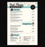 Disposição do molde do projeto do menu do café da manhã do restaurante Fotografia de Stock Royalty Free