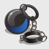 Dispositif d'accrochage de vintage avec des poids, symbole d'esclavage Images stock