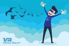 Dispositif de simulateur de réalité virtuelle de VR par l'illustration avec le ciel bleu Images stock