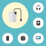 Dispositif de stockage plat d'icônes, écouteurs, unité de système et d'autres éléments de vecteur Ensemble de symboles plats d'ic Photos libres de droits