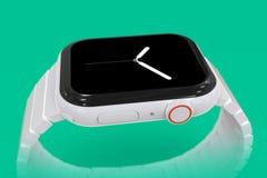 Dispositif fictif en céramique blanc de rumeur de la montre 4 d'Apple images stock