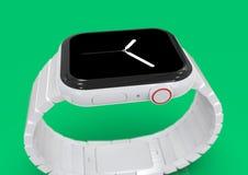 Dispositif fictif en céramique blanc de rumeur de la montre 4 d'Apple photographie stock