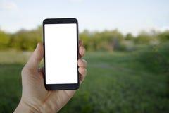 Dispositif moderne de Smartphone dans la main de l'homme sur le fond de vert d'été Image stock