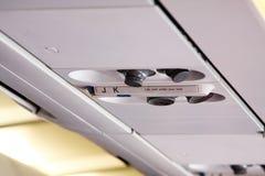 Dispositif principal de canal de lumière et d'air à l'intérieur d'avion Images stock