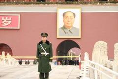 Dispositif protecteur de la porte de Tiananmen image stock