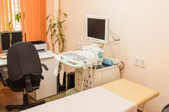 Dispositif ultrasonique pour le diagnostic et l'examen du corps photographie stock libre de droits