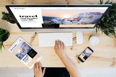 dispositifs aériens de site Web de voyage image libre de droits