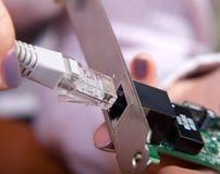 Dispositifs de câble reliés au LAN photos stock
