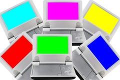 Dispositifs de DVD avec les écrans clairs de RGB-CMY Photographie stock