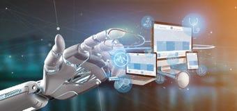 Dispositifs de participation de main de cyborg avec l'icône et le stéthoscope médicaux 3d photographie stock