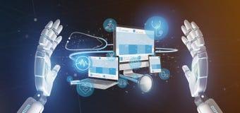 Dispositifs de participation de main de cyborg avec le rendu médical d'icône et de stéthoscope 3d photos libres de droits