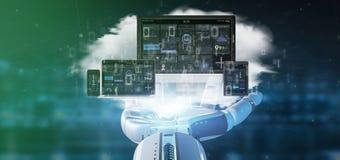 Dispositifs de participation de main de cyborg reliés à un rendu du réseau 3d de multimédia de nuage photos libres de droits