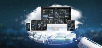 Dispositifs de participation de main de cyborg reliés à un rendu du réseau 3d de multimédia de nuage image libre de droits