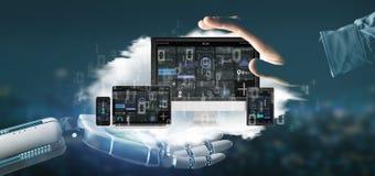 Dispositifs de participation de main de cyborg reliés à un rendu du réseau 3d de multimédia de nuage images libres de droits