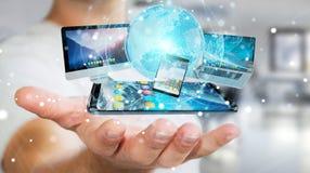 Dispositifs de technologie d'homme d'affaires et applications se reliants 3D d'icônes au sujet de Photo libre de droits