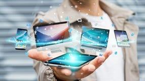 Dispositifs de technologie d'homme d'affaires et applications se reliants 3D d'icônes au sujet de Images stock
