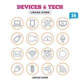 Dispositifs et icônes de technologies Usb, Wi-Fi Photographie stock libre de droits