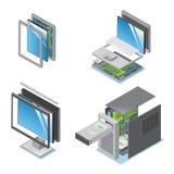 Dispositifs isométriques et instruments modernes réglés illustration stock