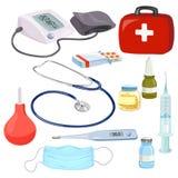 Dispositifs médicaux, instruments de médecins, illustration stock