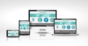 Dispositifs modernes avec le web design Photo libre de droits