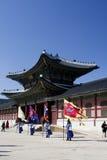 Dispositifs protecteurs de palais sud-coréens dans l'uniforme de l'hiver Photo stock
