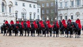 Dispositifs protecteurs royaux de Londres sur des chevaux Photo libre de droits